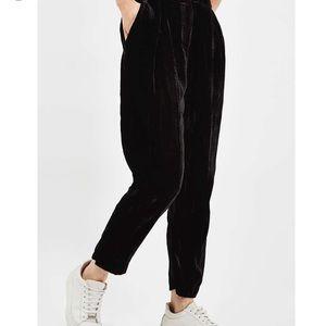 Pleat Velvet Peg Trousers